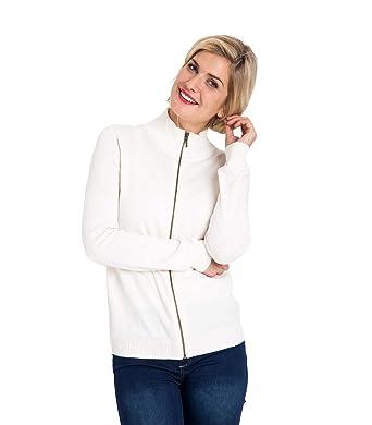 5703e77ceb91fe Wool Overs Strickjacke mit Reiverschluss aus Kaschmir und Baumwolle für  Damen Cream, L: Amazon.de: Bekleidung