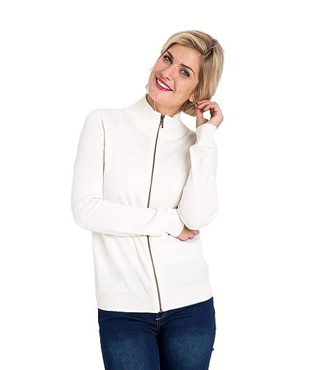 36269a9ae7b6b Wool Overs Cardigan à Fermeture éclair - Femme - Cachemire   Coton Cream,  ...