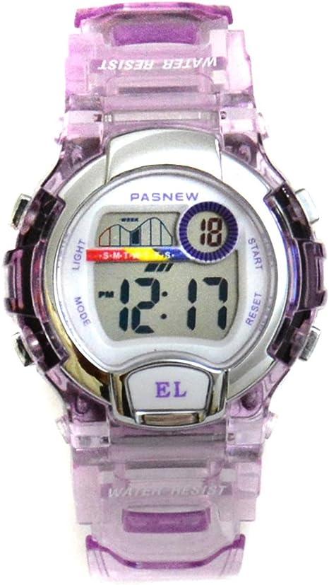 Pasnew 170G - Reloj digital para niños (sumergible hasta 30 m, correa transparente) purple transparent Talla:37 x 14 mm: Amazon.es: Relojes