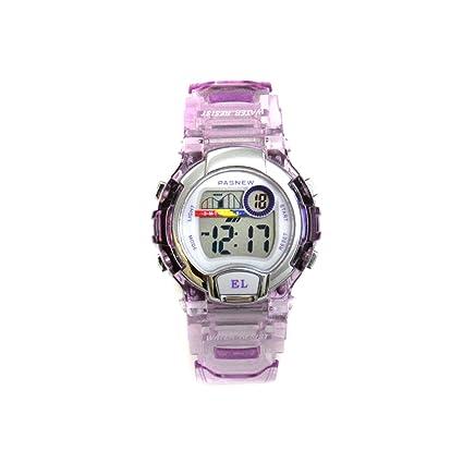Pasnew 170G - Reloj digital para niños (sumergible hasta 30 m, correa transparente)