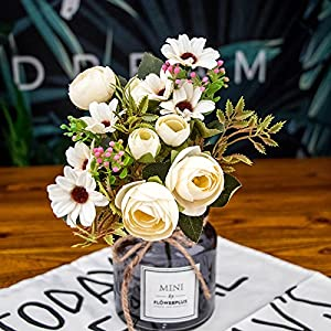 ADCorner Fake Flowers Wedding Flower Vintage Artificial Flowers Peony Home Decoration Wedding Bouquet DIY Silk Flower Party Decoration Birthday Gift 1 Pack Mini Bouquet 120