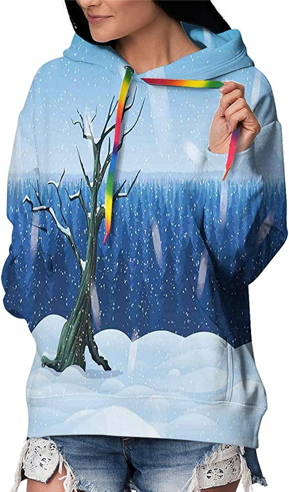 GULTMEE Women's Pullover Hoodie Sweatshirt,Cold Snowy Landscape with Deep Winter Forest Hillside Panorama L 61xyEp18y2L