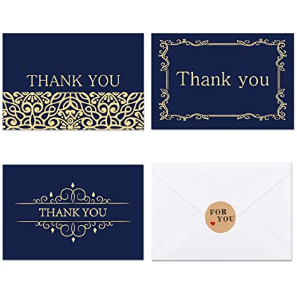 amazon com 24 thank you cards bulk 4x6 photo size navy blue
