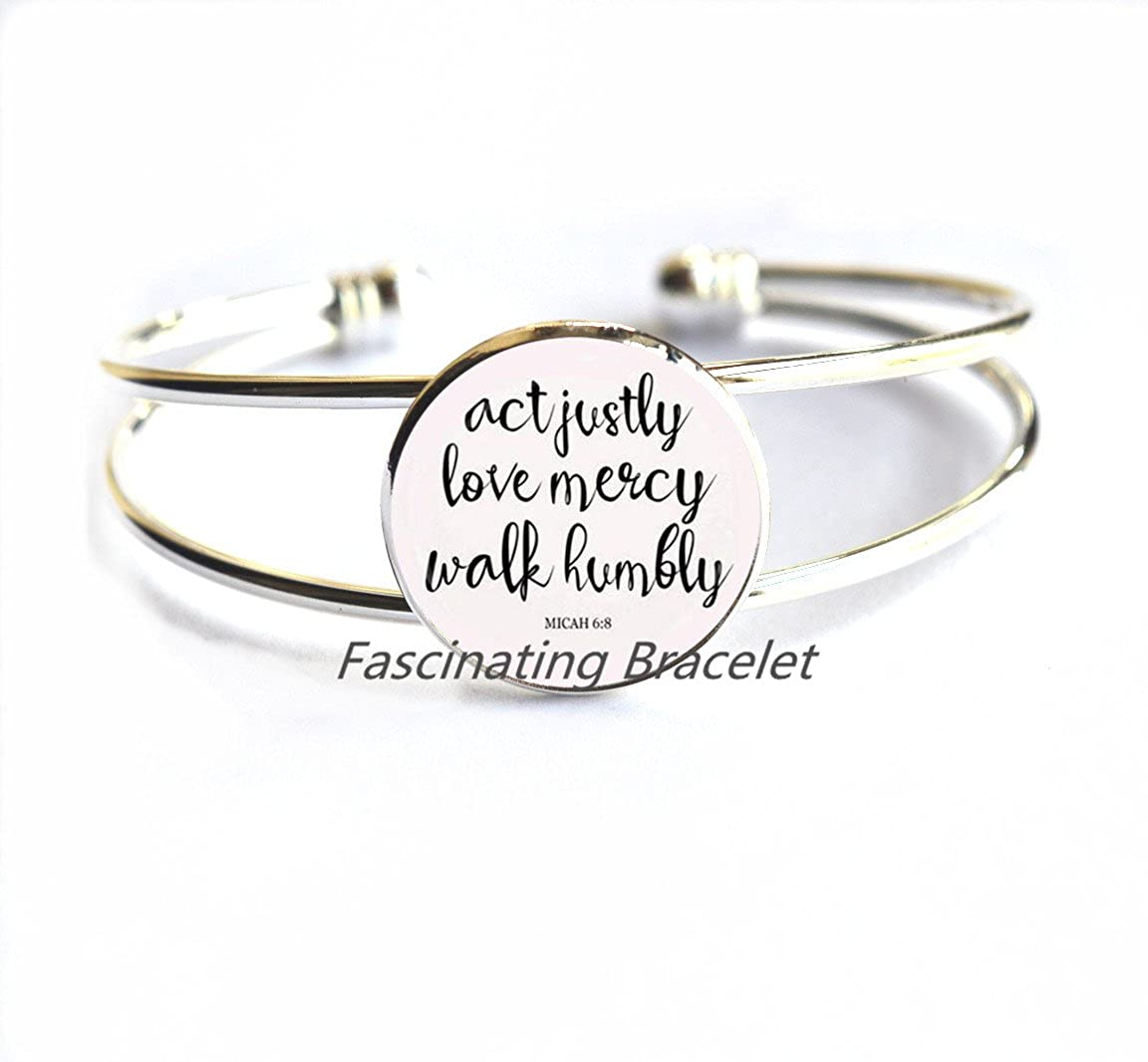 68 Act Justly Love Mercy Walk Humbly cameo Photo Cabochon Bracelet bible quote jewelr,AE0122