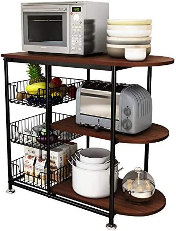 POPHOMO Kitchen Microwave Rack Stand Cart,Toaster Oven Shelf Cart,Foot Pads and Lockable Wheels Available,Sturdy Metal Frames+3 Wire Baskets+3-Tiers Wood Look Countertop(33.4Inch H,Walnut Color)