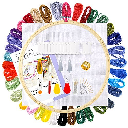 Caydo Full Range of Embroidery Starter Kit Cross Stitch Tool Kit Including 10 Inch Bamboo Embroidery Hoop, 36 Color Threads, 12 by 18-Inch 14 Count Classic Reserve Aida and Tool Kit