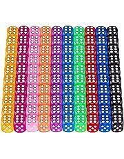 Youery 100 stycken färger tärningsuppsättning, speltärning färgglada, sexsidig tärning, transparent tärningsset med väskor, tärningsspel bordsspel bordkortspel, 14 mm D6 standardtärning