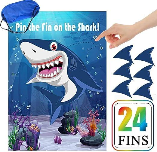 Amazon.com: Pin The Fin On The Shark Juego de cumpleaños ...