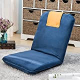 Cheap Harper&Bright Designs Padded Floor Chair with Adjustable 5-Position Backrest Folding Lazy Sofa Floor Chair (Blue&Orange-Suede Fabric)