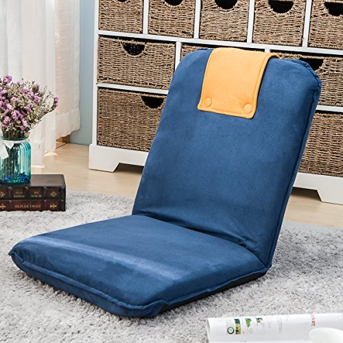 Harper&Bright Designs Padded Floor Chair with Adjustable 5-Position Backrest Folding Lazy Sofa Floor Chair (Blue&Orange-Suede (Design Backrest)