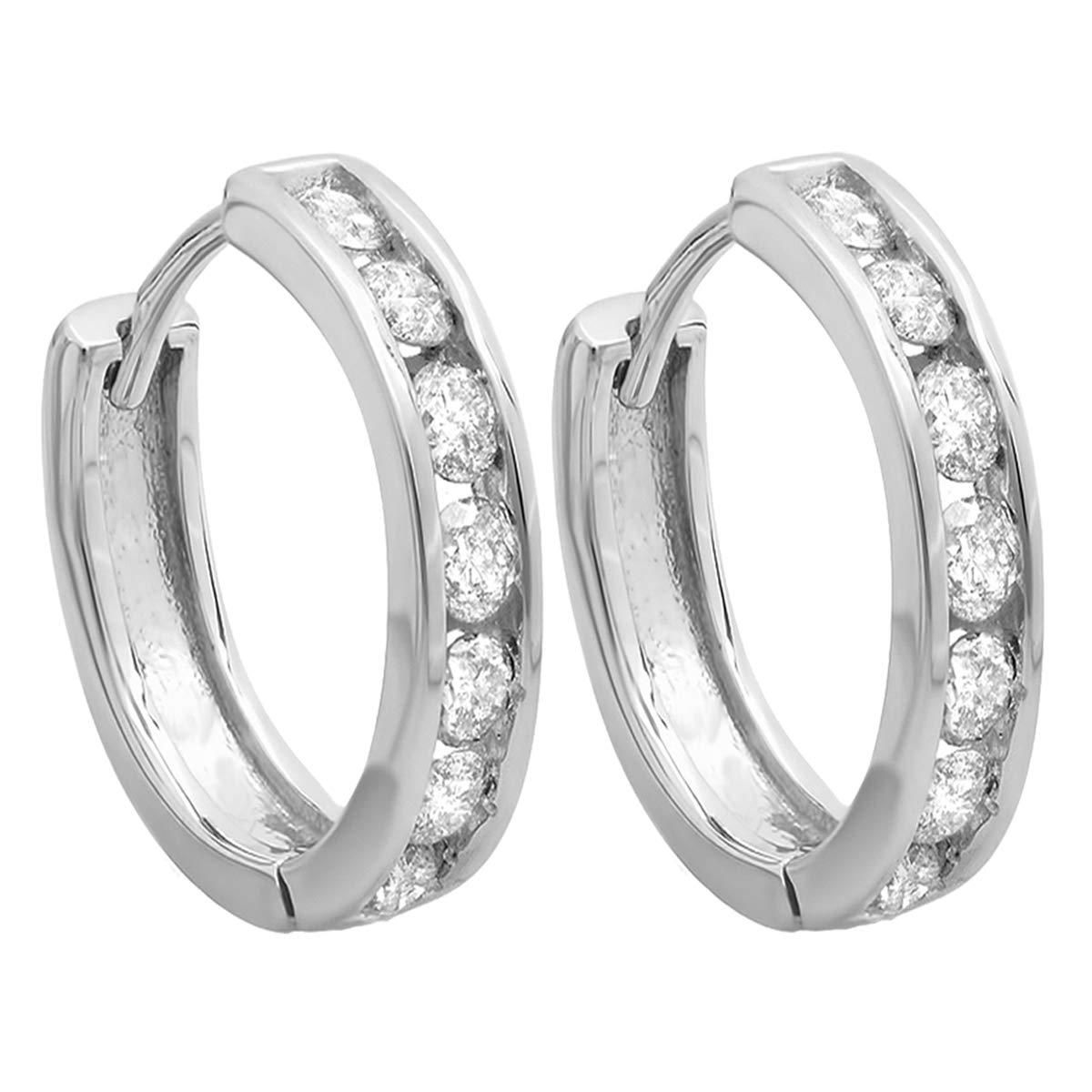 Dazzlingrock Collection 0.50 Carat (ctw) 10K Round Diamond Ladies Mens Unisex Huggie Hoop Earrings 1/2 CT, White Gold by Dazzlingrock Collection (Image #3)