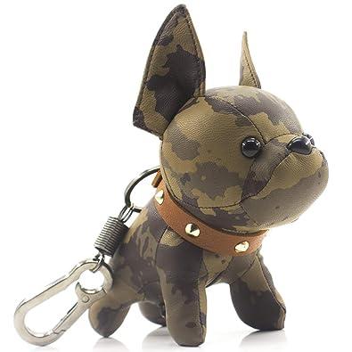 Amazon.com: Llavero de piel con diseño de bulldog francés ...