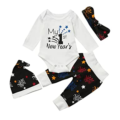 158653532 Webla Newborn Baby Girls Boys 4Pcs Outfits Clothes Letter My 1st New Year's  Romper+Fireworks