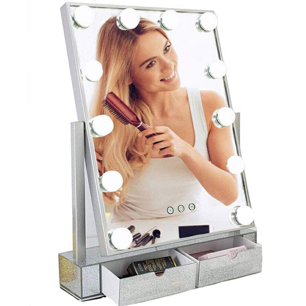 Hollywood Makeup Vanity Mirror with Lights,Plug in Light-up Professional Mirror,Removable 10x Magnification,3 Color Lighting Modes, Women Cosmetic Mirror with 12 Dimmable Bulbs for Dressing Desk by Hansong