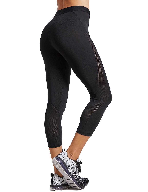 SYROKAN Womens Slimming Mesh Training Capri Leggings Sports Cropped Tights