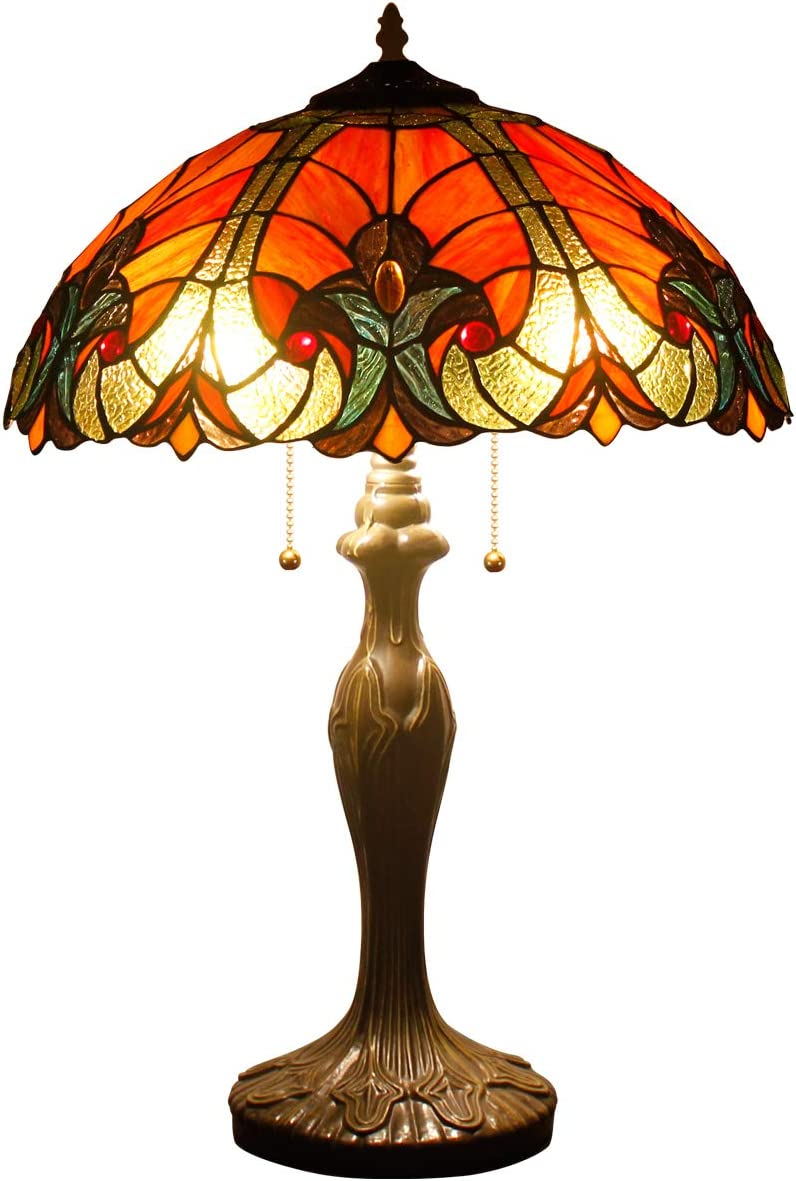 Tiffany Table Lamps Red Liaison Stained Glass Style Shade Zinc Base 2 Light 24 Inch Tall for Living Room Bedroom Coffee Table Reading Desk Beside Reading S160R WERFACTORY