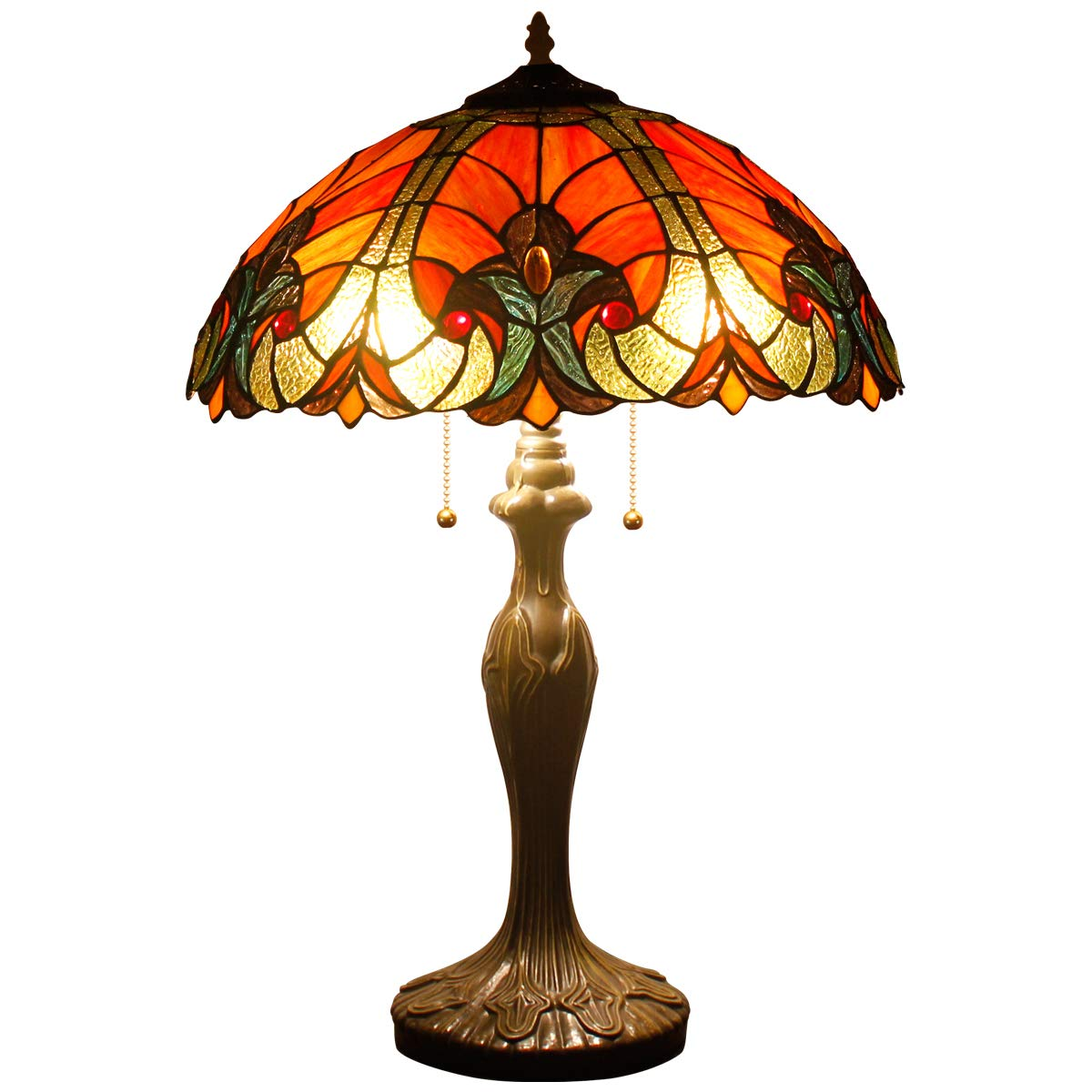 Tiffany Table Lamps Red Liaison Stained Glass Style Shade Zinc Base 2 Light 24 Inch Tall for Living Room Bedroom Coffee Table Reading Desk Beside Reading Set S160R WERFACTORY