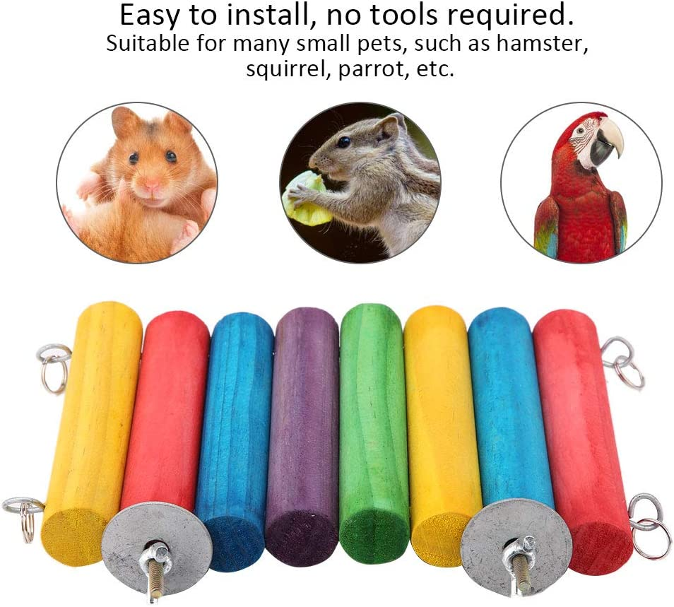 Hamster Wooden Springboard Toys Pet Parrot Wooden Swings Ladders Squirrel Round Wooden Stick Crawling Toy Little Pet Cage Accessory Wood color