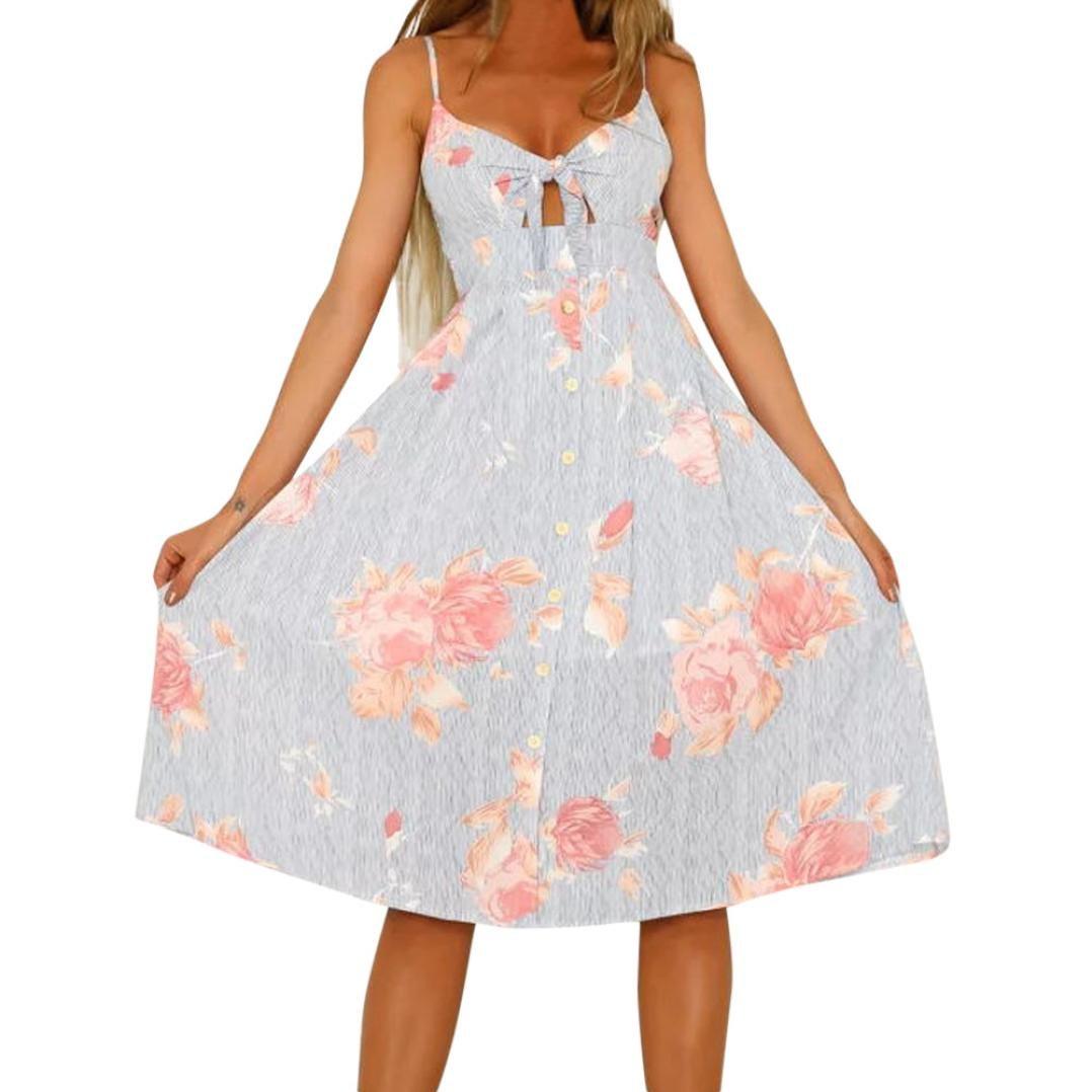 Kinrui Women Floral Maxi Dress Sexy Spaghetti Strap Crisscross Backless Summer Boho Long Dress (Gray -2, L)