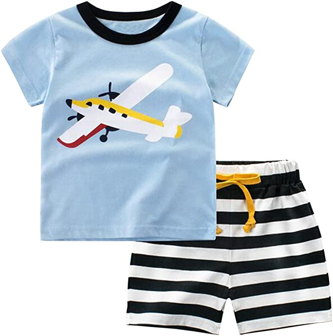 Summer Boy Short Sleeve Casual Breathable Comfort Two Piece Sports Set