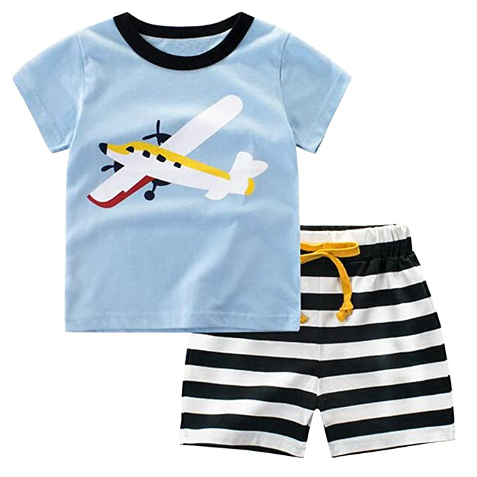 Csbks Kids Boys Summer Outfits Short Sleeve T,Shirt \u0026 Shorts Sets 1,8  Toddler