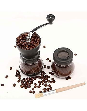 Cooko Molinillo de café manual, Mini Molino de Café Profesional Molinillo de Manivela con Rebabas