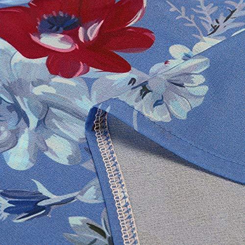 VJGOAL Soie Femmes Imprim T Casual Top Mousseline Top en X Mode Soie Hem Shirt Floral Mousseline Bouton en De De bleu Blouse IrrGuliRe rPrqndI