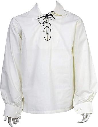 SHYNE KILTS U.K Escocés Crema Jacobita Ghillie Falda Escocesa Camisa Cuero Cuerda: Amazon.es: Ropa y accesorios
