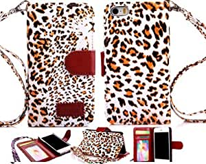Gotida 4SLEO001 Leopard Print Wallet Leather Case with Credit ID Card Slot For iPhone 4 4S