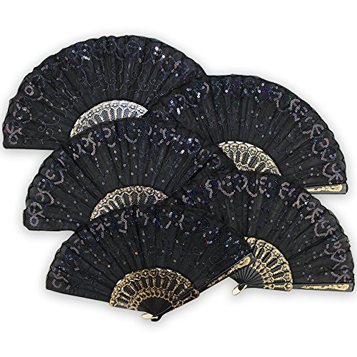 """Just Artifacts 9"""" Black w/ Decorative Sequin Embroidery Folding Silk Hand Fans (Set of 5, Black) by Just Artifacts"""