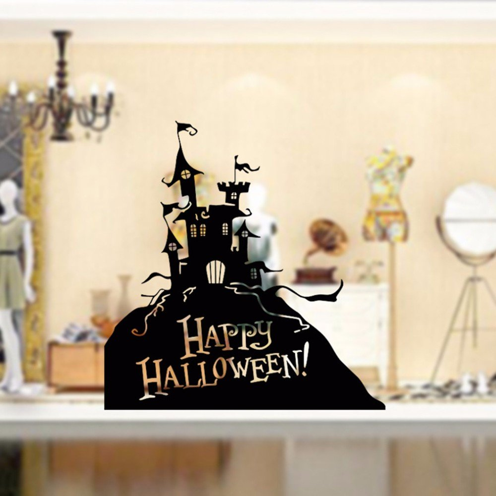 Halloween Window Cling USA-SALES by USA-SALES Seller Castle Happy Halloween Sticker Castle Happy Halloween Sticker