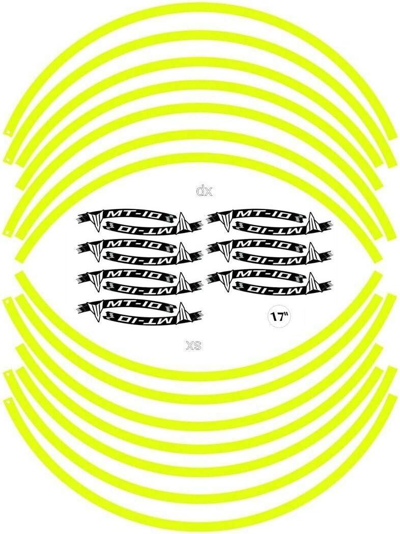 Set Bandes Adh/ésif pour Roues Moto 17 Compatible Yamaha MT-10 Adh/ésifs Tuning Jaune Fluo