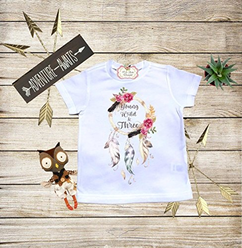 Boho Baby Clothes Young Wild and Three Third Birthday Shirt Personalized Baby Boho Bodysuit Toddler T-shirt Baby Shower Gift Custom Clothes Infant Bodysuit Baby Boho Clothes Baby Boho Designs by Baby Boho Designs