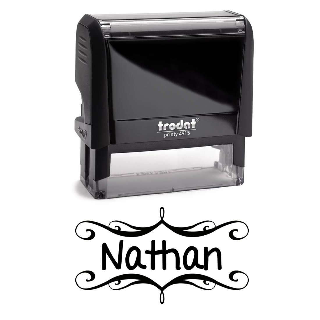 Personalized Kids Name Self Inking Stamp, Decorative Stamp, Custom Font, Customized with Name, Rubber Stamp, Naming Stamp, Children's Signature Stamper, School Book Label Child Name, Stamp (Black)