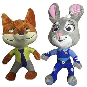 25cm Zootopia Judy Hopps y Nick Wilde juguetes de peluche de conejo zorro
