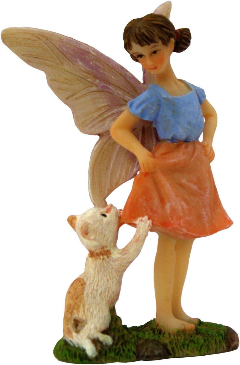 PRETMANNS Fairy Garden Fairies Accessories – Outdoor Fairy Figurine for Miniature Garden – Standing Fairy Ava with Cat – Fairy Garden Supplies - 1 Piece