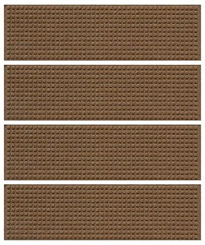 WaterGuard Squares Stair Treads, Dark Brown, Set of 4 (Waterhog Indoor Outdoor Rug)