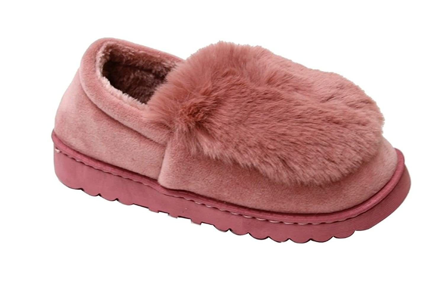 Women's Faux Sued Fur Lined Moccasion Indoor-Outdoor Slip On Mule Flexible Slipper Warm Bootie Shoes