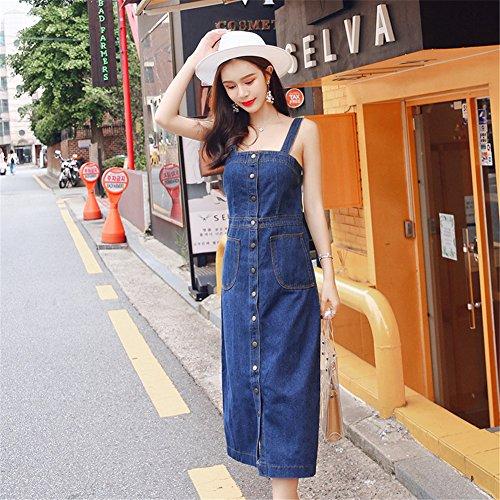 a7c62a938e0 Drasawee Women Casual Suspender Denim Skirt Long Buttons Overalls Jean Dress