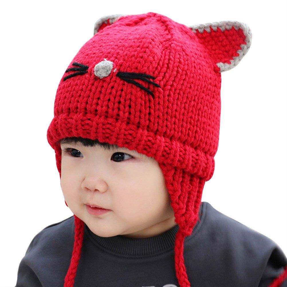 ARAUS-Garçons Fille Bébé Hiver Chaud Cap Chapeau Bonnet Chat Aviateur Pilote Crochet Earflap Chapeaux Déguisement