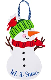 """Snowman Greeter Happy Holidays Door Welcome Sign Wall Decor 32/""""L"""