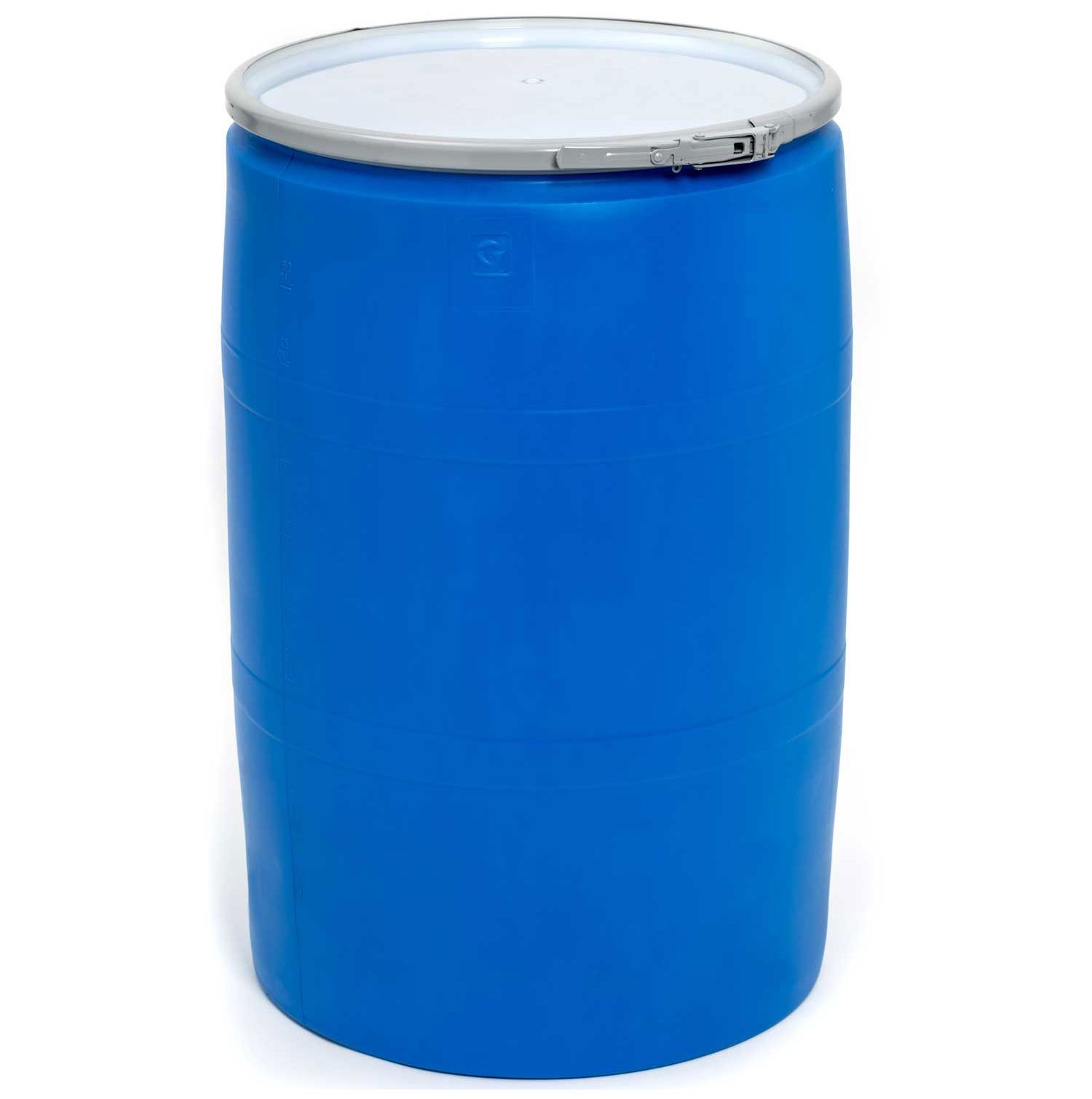 Mauser POLY55OHBLPC, 55 Gallon Open-Head Plastic Drum with Plain Cover - Blue