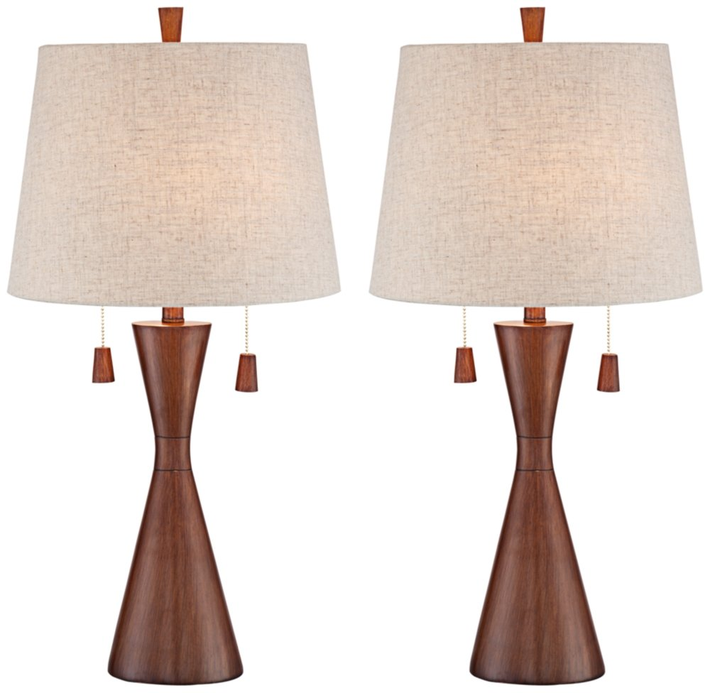 "Omar Mid Century Modern Table Lamps Set of 2 Brown Wood Oatmeal Tapered Drum Shade for Living Room Family Bedroom Bedside - 360 Lighting - Set of 2 modern lamps: 28 3/4"" high. Bases are 6 1/4"" wide. Each shade is 12"" across the top x 15"" across the bottom x 11"" on the slant. Each takes two 60 watt or equivalent standard base bulb (not included). Double pull chain switches. Modern, mid-century styling from the 360 Lighting brand. - lamps, bedroom-decor, bedroom - 61xyOY0vmPL -"