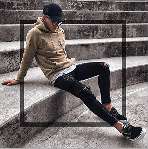 Pantaloni Nero Skinny Denim Attillati Strappato Elasticizzato Biker Huateng Uomo nero Slim Jeans qwa68