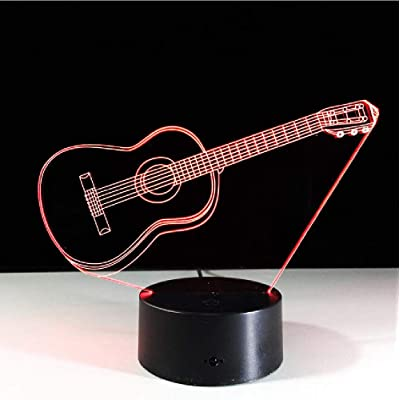 Music Guitar Bass 3D Led Lamp Night Light for Musicians Gift Home Decorations Birthday Holiday: Home & Kitchen