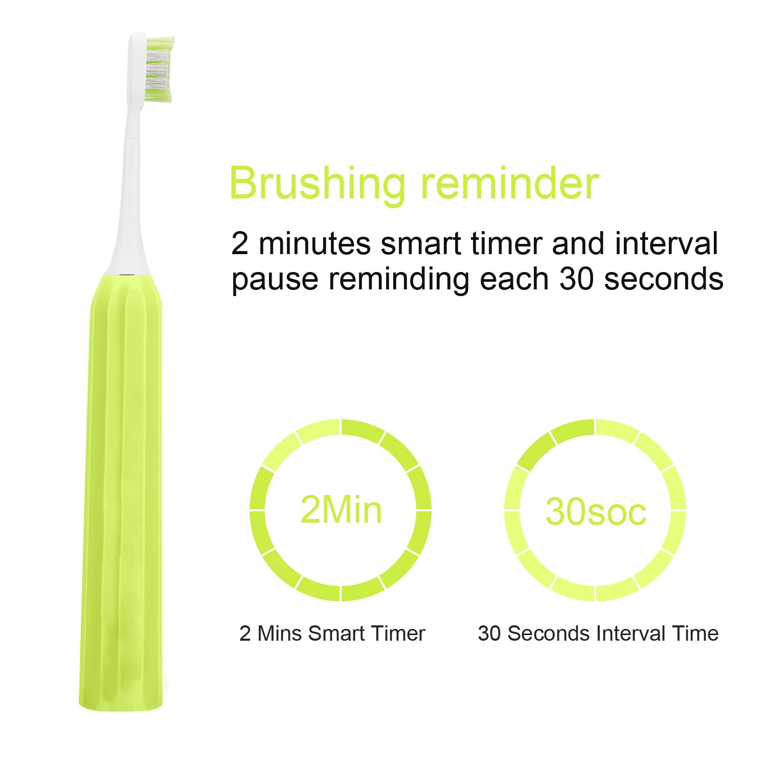 Rechargeable Sonic Electric Toothbrush for Adults, 5 Modes USB Toothbrush Up to 100 Days Battery Life with 3 Replacement Heads, IPX7 Fully Waterproof by Rlway RL-1318 Green
