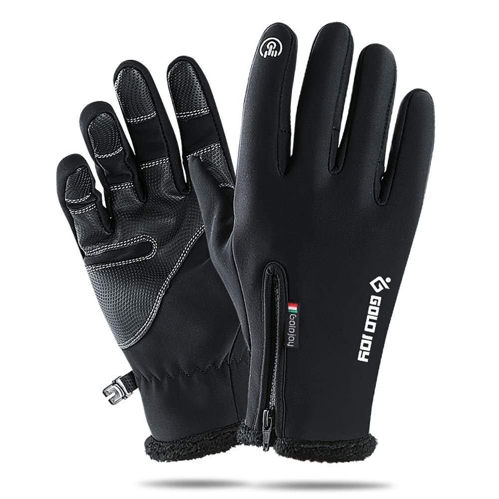 冬用 暖かい タッチスクリーン 手袋 メンズ レディース 防風 サーマル フルフィンガー グローブ アウトドア スポーツ 手袋 運転 ランニング サイクリング 手袋 滑り止め パーム - 伸縮性リストカフ XX-Large  B07LGYSZ1Y