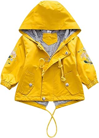 amiyan Chaqueta de entretiempo con capucha para bebé, princesa, flores, primavera, otoño, ropa exterior