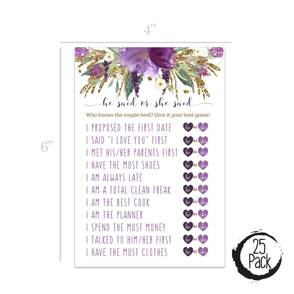 00bea087862c Amazon.com  Purple Floral Bridal Shower Games He Said She Said - Set of 25  Guess Who Wedding Activity Cards  Kitchen   Dining