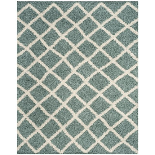 Safavieh Dallas Shag Collection SGDS258C Seafoam and Ivory Area Rug (8' x 10')
